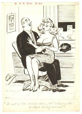 Super Hot Blonde Secretary Humorama Gag - 1961 Signed Art By Helen Case • 82.18£