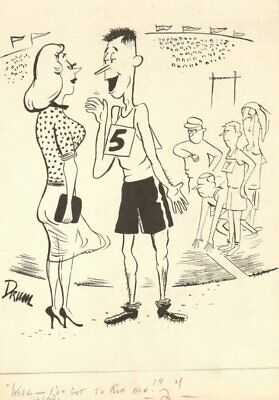 Track Athlete And Babe Gag - Humorama 1968 Art By Jack Drummey • 81.86£