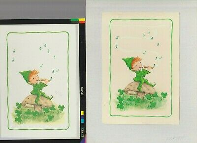 BOY LEPRECHAUN WITH FLUTE 6.5x9  #7811 St Patrick's Day Greeting Card Art • 51.93£