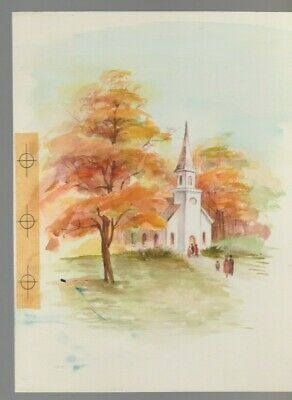 CHURCH W/ People & Trees 6.5x8.5  #7920 Thanksgiving Greeting Card Art • 36.52£