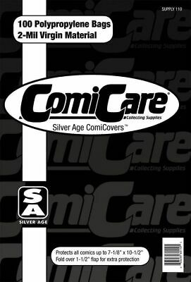 100 Silver Age Polypropylene Comic Bags (free Uk Shipping) Comicare Supply110 • 5.49£