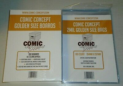 100 X GOLDEN AGE COMIC CONCEPT BACKING BOARDS + BAGS • 19.99£