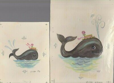THE BIGGEST WISH Painted Cute Whale W/ Hat 2pcs 6.5x9  Greeting Card Art #B590 • 34.05£