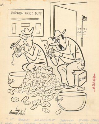 Army Kitchen Duty - War Fare 1966 Humorama Art By Joe Buresch • 60.58£
