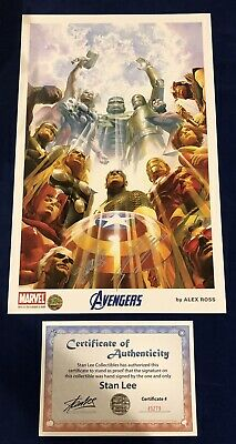 Avengers Alex Ross Print Signed By Stan Lee W/ COA & Alex Ross MARVEL! ONLY 200! • 187.55£