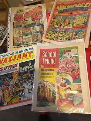 4. Early Various Comics. School Friend 1960. Valiant 1970. Whoopee 1982. Topper • 9.99£