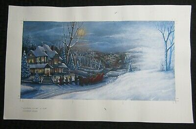CHRISTMAS Victorian House W/ Carollers & Sleigh 18x11.5  Greeting Card Art #nn • 35.21£