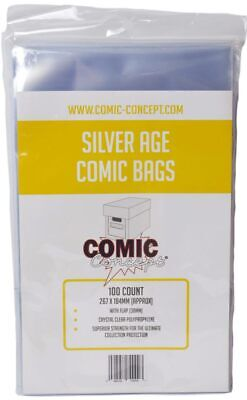 Comic Concept Silver Age Comic Bags Pack Of 100 Bags - New • 5.99£