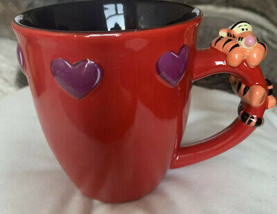 Disney Tigger Mug In Red With Purple Hearts Excellent Condition • 4.50£