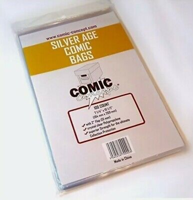 200 X SILVER AGE SIZE COMIC BAGS (COMIC CONCEPT)(POLYPROPYLENE) • 10.99£