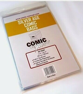 400 X SILVER AGE SIZE COMIC BAGS (COMIC CONCEPT)(POLYPROPYLENE) • 21.99£