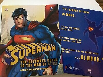 SUPERMAN THE ULTIMATE GUIDE TO THE MAN OF STEEL(DC COMICS)with Colletable Prints • 3£