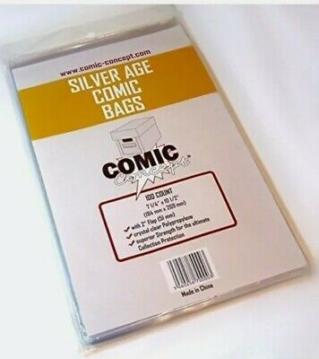 300 X SILVER AGE SIZE COMIC BAGS (COMIC CONCEPT)(POLYPROPYLENE) • 16.99£