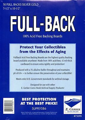 50 Full Back Silver Gold Age Size Comic Backer Boards (e. Gerber) • 30.99£