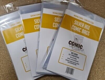 400 X SILVER AGE SIZE COMIC BAGS (COMIC CONCEPT)(POLYPROPYLENE) • 24.99£