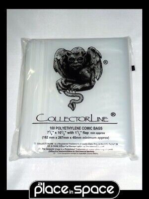 100 X Current/silver Age Size Polyethylene Comic Bags (collectorline) • 6.99£