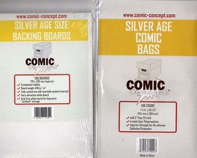 100 X Silver Age Size Comic Bags & Boards (comic Concept)(polypropylene) • 15.99£
