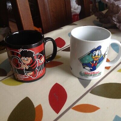 Lovely Old Dennis The Menace And Gnasher /donald Duck Mugs  In  Good Condition • 0.99£