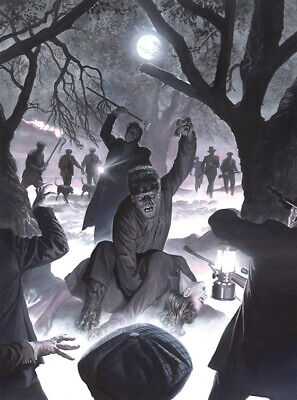 COLOR Alex Ross SIGNED Universal Monsters Sideshow Art Print Wolf Man Lon Cheney • 286.10£