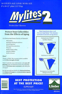 Mylites 2  Protective Sleeves  Pack Of 50 Golden Age Comic Book Size (e.gerber) • 20.99£