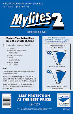 Mylites 2  Protective Sleeves  Pack Of 50 Silver/golden Age Comic Size. E Gerber • 18.39£