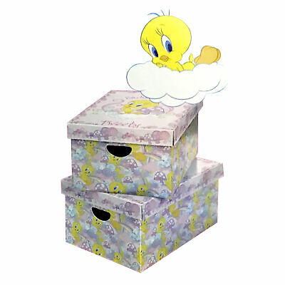 2 X Tweety Looney Tunes Carboard Storage Store Boxes For Girls Kids Bedroom • 9.99£