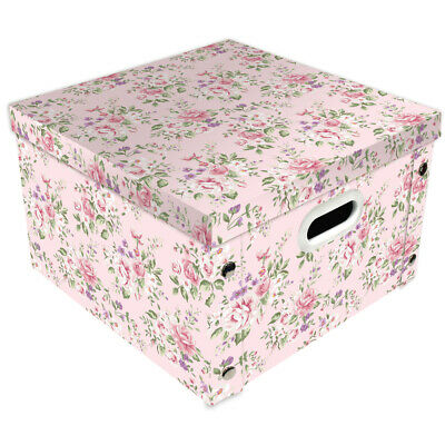 Light Pink Floral Collapsible Storage Box, Home Living, Brand New • 9£